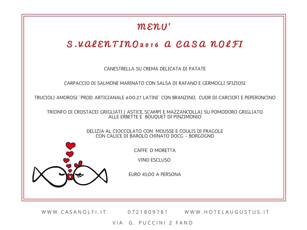 Menu  San Valentino a Fano