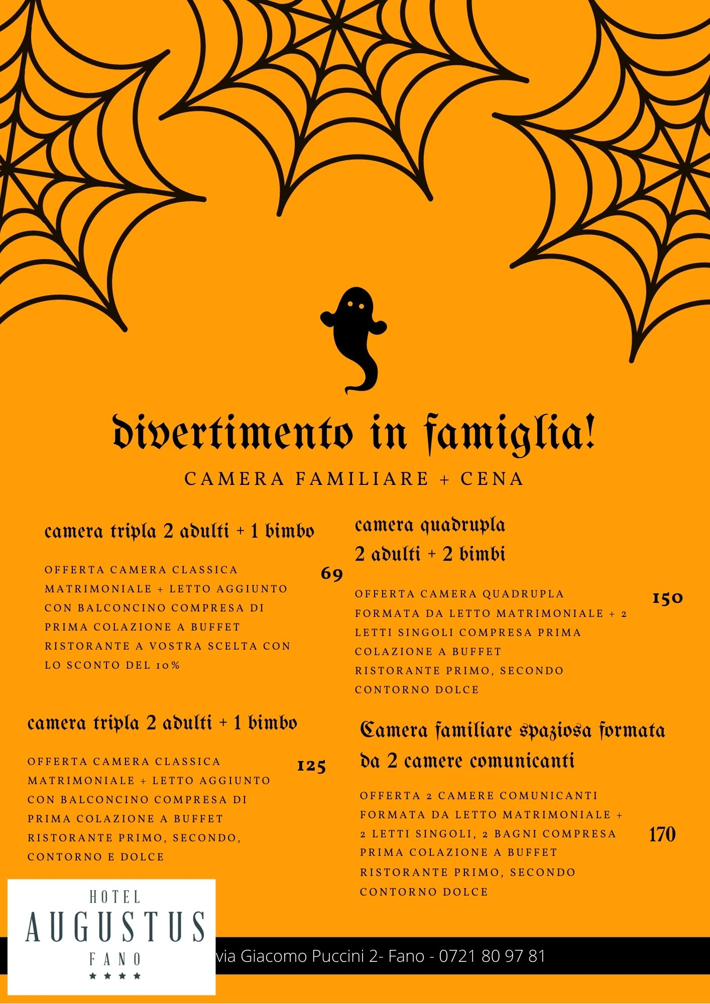 offerta halloween menu' e camera
