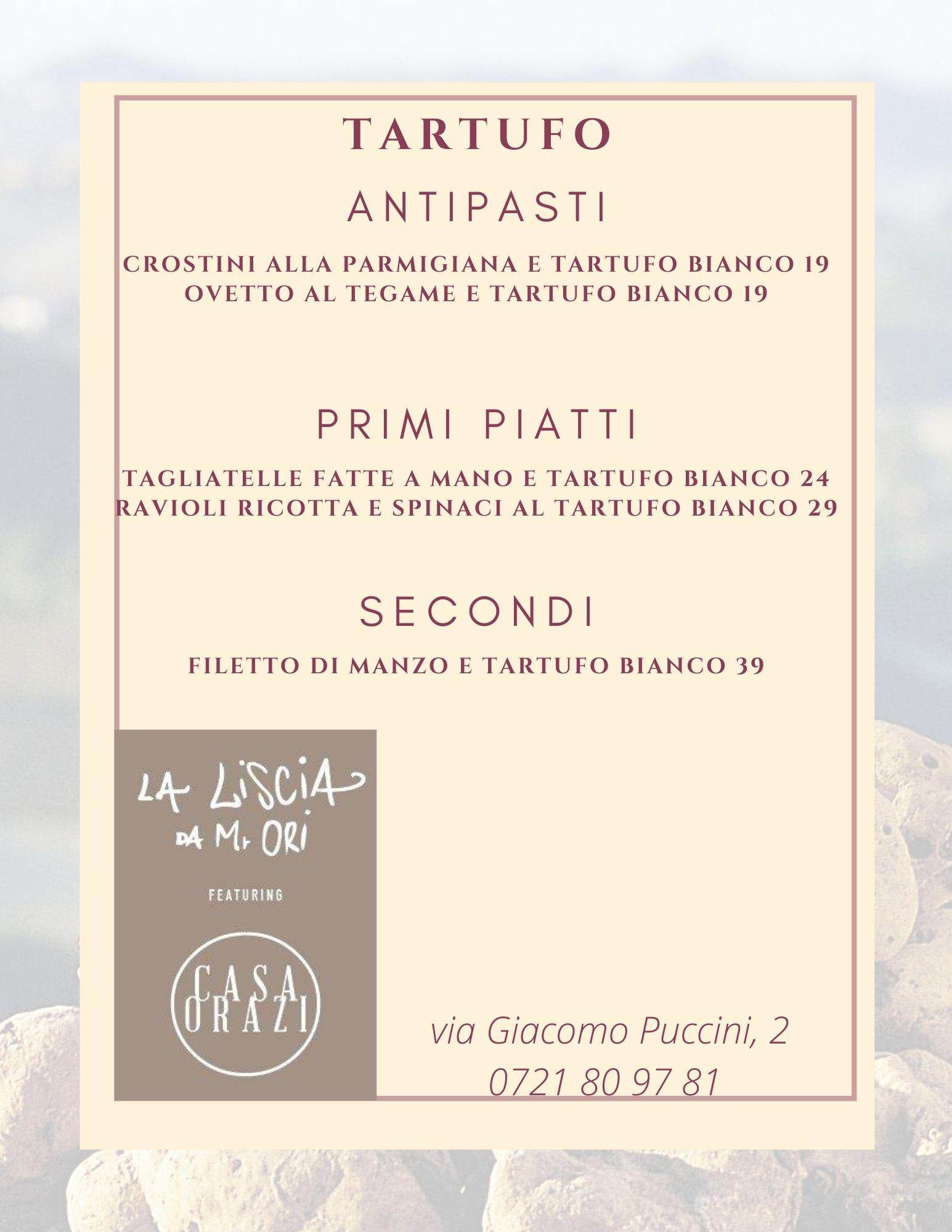 menu' al Tartufo 2020